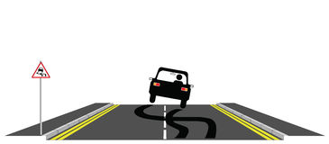 Car skidding. Across the road past warning sign Vector Illustration