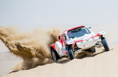 Car skids at Dakar 2013 Royalty Free Stock Image