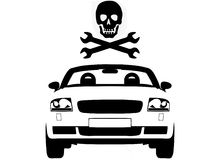 Car Skull. Vector illustration of a car with pirate flag comprising a skull and spanners Stock Image