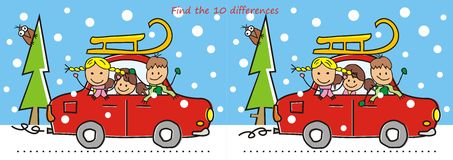 Car and sledge, game, find ten differences. Car, children and sledge. Game for children. Find ten differences Royalty Free Stock Photos