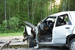 Car smash. Total car crash smash accident on an interstate road royalty free stock photos