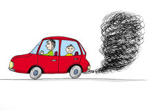 Car with smoke, cartoon Stock Photography