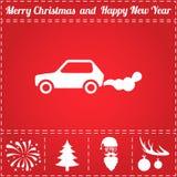 Car smoke Icon Vector. And bonus symbol for New Year - Santa Claus, Christmas Tree, Firework, Balls on deer antlers stock illustration