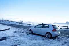 Car in the snow. Rear view royalty free stock image