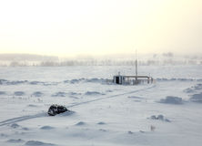 Car in snow. Car stuck in snow near the research station royalty free stock photography