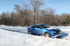 Car in Snow. Car stopped on a snowy rural road in Ohio Stock Photos