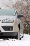 Car in snow. European car parked in snow Royalty Free Stock Photo