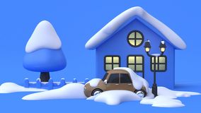 Car snow abstract cartoon style blue scene blue background winter. Car park front house tree fence light lamp many snow abstract cartoon style blue scene blue royalty free illustration
