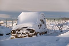 Car in a snow captivity Royalty Free Stock Images