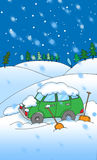 Car in snow cartoon Stock Photography