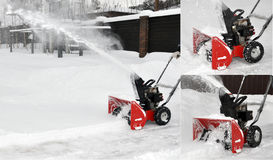 The car on snow cleaning. The car cleans snow in the street Stock Images