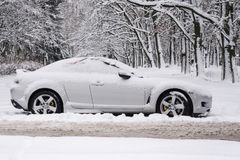 Car in snow on the forest royalty free stock image