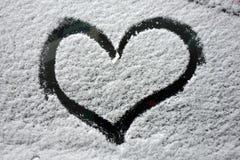 Car snow heart Stock Image