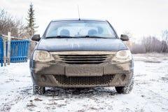 Dirty car in winter stock photos