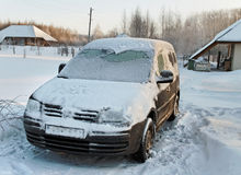 The car in the snow. Royalty Free Stock Images