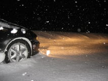 Car in snow road stopped for safety Royalty Free Stock Images