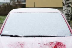 Car in the snow, windshield in the snow stock photo