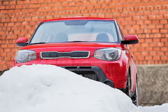car in snow winter on parking Royalty Free Stock Images