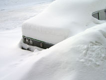 Car in the snowdrift. Consequences of snowfall Stock Photos