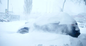 Car in a snowdrift snow Stock Image