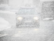 Car snowfall Royalty Free Stock Photos