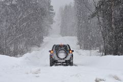 Car on road in the forest in the snow royalty free stock photography