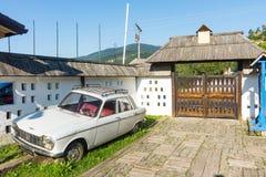 Car socialist era at the entrance to Drvengrad, Serbia royalty free stock image