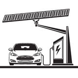 Car, solar cell ,electric filling station. Electric car. Charging at a gas station. Solar battery Stock Photo