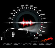 Car sound and performance. Car and sound system working illustration Stock Image