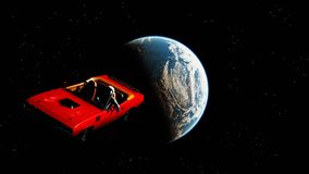 The car in space Stock Photography