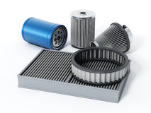 Car spare oil and air filters. 3D illustration.  Stock Image