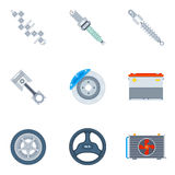 Car spare parts flat icons Royalty Free Stock Image