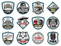 Car spare parts and motor oil, tire, battery icons. Car service and spare parts vector icons. Car repair mechanic garage, tire fitting and washing services royalty free illustration