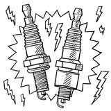Car spark plug vector. Doodle style automotive spark plug illustration in vector format Royalty Free Stock Images