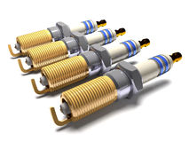 Car spark plugs 3d illustration. Royalty Free Stock Photo