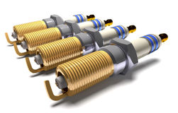 Car spark plugs 3d illustration. Stock Image