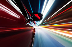 The car sped on the road at night Royalty Free Stock Photo