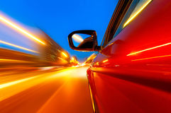 The car sped on the road at night Royalty Free Stock Photos