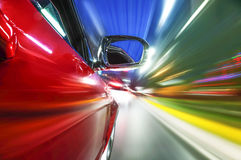 The car sped on the road at night Royalty Free Stock Photography