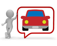 Car Speech Bubble Shows Communication Gossip And Auto 3d Rendering Stock Photography