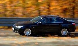 Car at speed. BMW at fast ride in the autumn Royalty Free Stock Photo