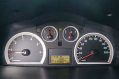 Car Speed Dashboard with LED display. Panel Royalty Free Stock Photos