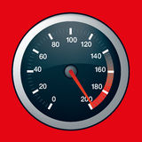 Car speed dial on maximum. Spped dial showing maximum speed at 200 Royalty Free Stock Photo