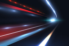 Car speed lines. Light trails tragic of long exposure abstract vector background. Light night road tunnel for car or train illustration Stock Photo