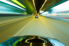Car speed night drive Royalty Free Stock Image