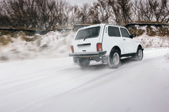 Fast drive car speed on off-road 4x4 lada Royalty Free Stock Photos