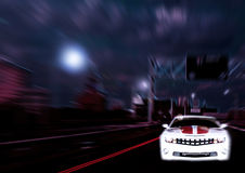 Car speeding through city depiction Stock Photo