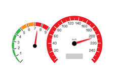 Car speeding limit. Illustration  on white background. Speedometer and rev counter shows the speed limit Royalty Free Stock Photos