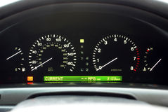 Car Speedo Display. Car Speedometer and Illuminated Dashboard Display Items Royalty Free Stock Photo