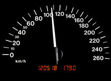 Car Speedometer with 110kph Stock Photo